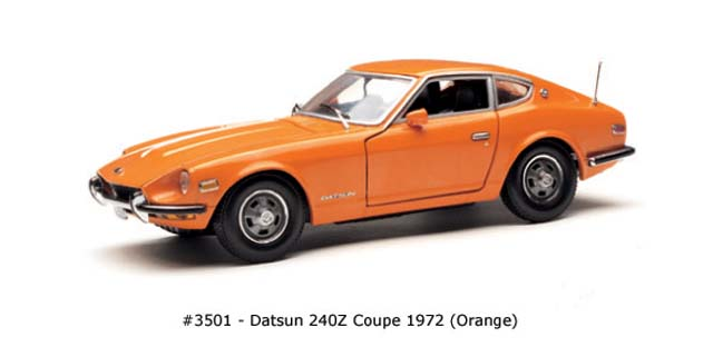Sun Star: 1972 Datsun 240Z Coupe - Orange (3501) im 1:18 maßstab