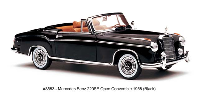 Sun Star: 1958 Mercedes-Benz 220SE Open Convertible - Black (3553) in 1:18 scale