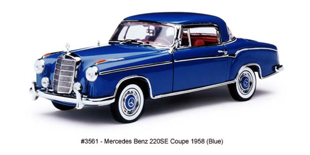 Sun Star: 1958 Mercedes-Benz 220SE Coupe - Blue (3561) in 1:18 scale