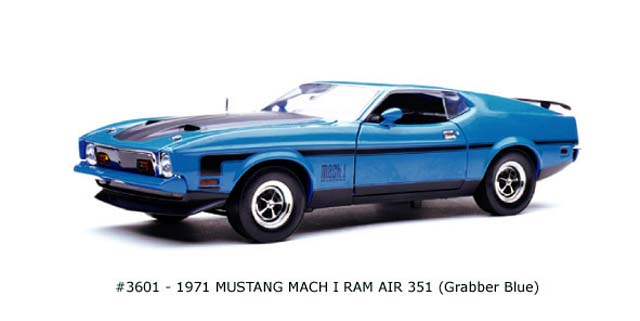 Sun Star: 1971 Mustang Mach I Ram Air 351 - Grabber Blue (3601) in 1:18 scale