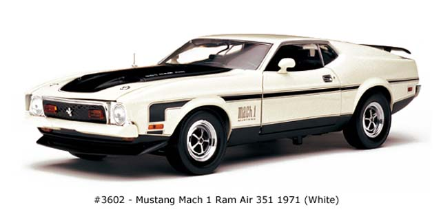 Sun Star: 1971 Mustang Mach I Ram Air 351 - White (3602) в 1:18 масштабе