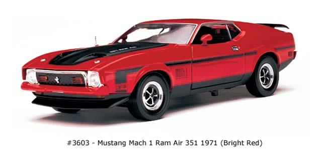 Sun Star: 1971 Mustang Mach I Ram Air 351 - Bright Red (3603) im 1:18 maßstab