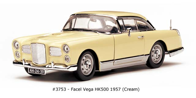 Sun Star: 1957 Facel Vega HK 500 - Cream (3753) в 1:18 масштабе