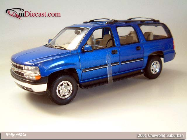 Welly: 2001 Chevrolet Suburban - Metallic Blue (9854) in 1:18 scale